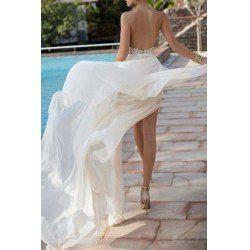 155a12a1da Elegant Halter Neck Sleeveless Backless High Slit Women's Maxi Dress - White  S