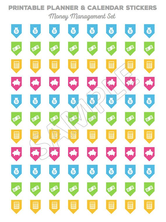 Printable Planner Stickers - Calendar Stickers for MONEY MANAGEMENT