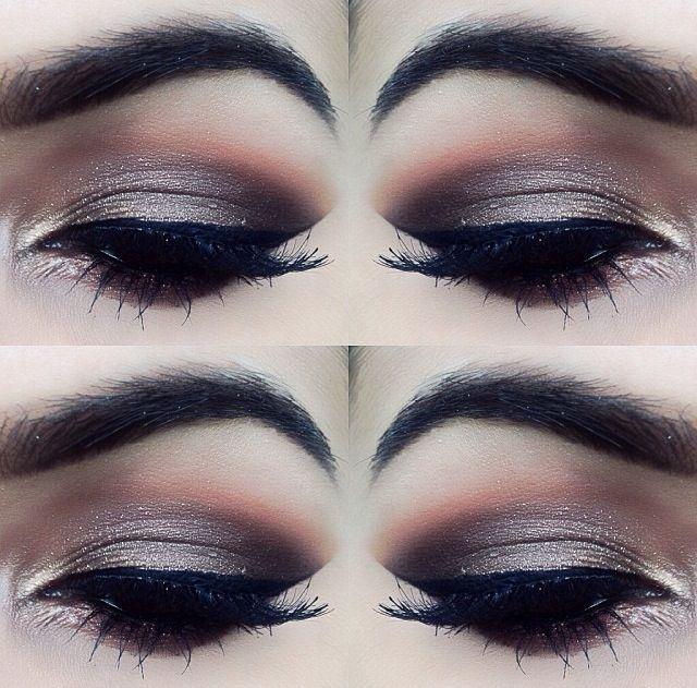 Brown and silver smokey eye