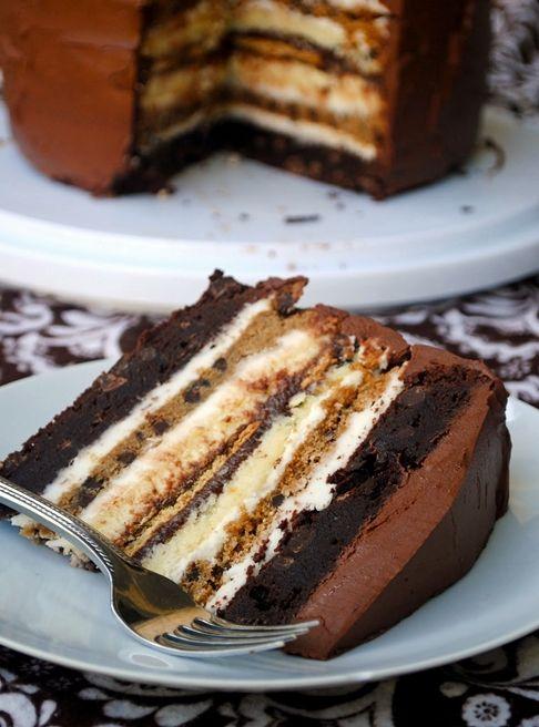 7 layers cake: 2 brownie layers, 2 cheesecake, 2 chocolate chip cookie, 1 graham crackers