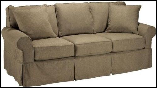 3 Cushion Sofa Slipcover Sure Fit Suede Taupe Individual