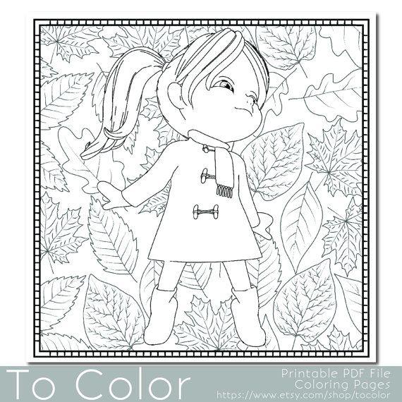 Niña y otoño hojas página para colorear - este es un PDF imprimible ...
