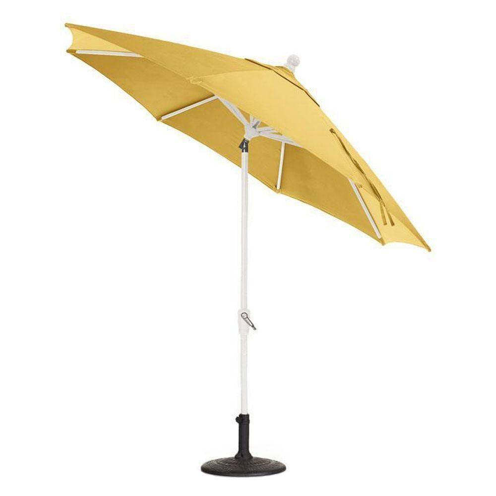 Home Decorators Collection Sunbrella 9 ft. Auto-Tilt Patio Umbrella in Buttercup, Buttercup/White