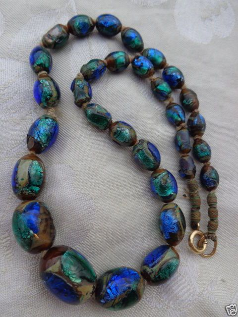 Antique Venetian Murano Italy Blue Peacock Eye Foil Art Glass Beads Necklace Beaded Necklace Glass Bead Necklace Fabulous Jewelry