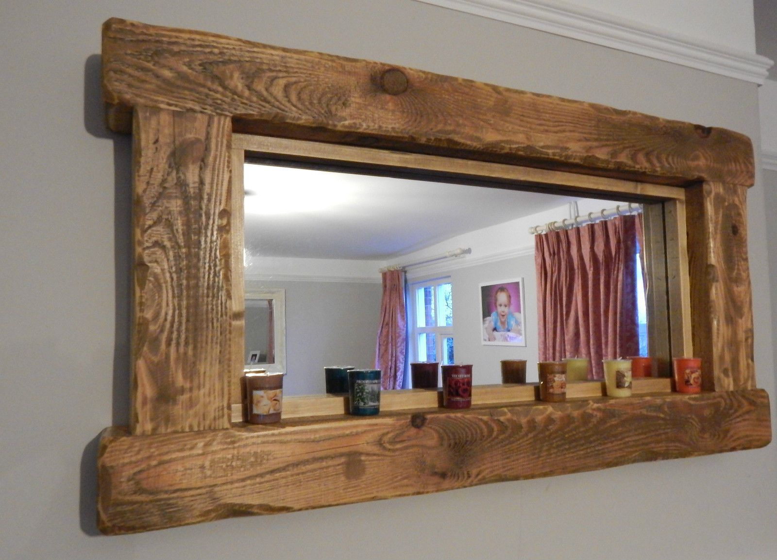 Chunky rustic reclaimed wooden mirror tea light shelf wall for Wood bathroom wall decor