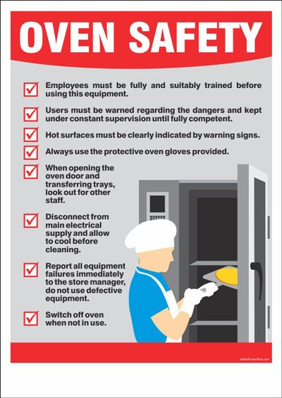 Oven Safety Kitchen Safety Safety Posters Food Safety Posters