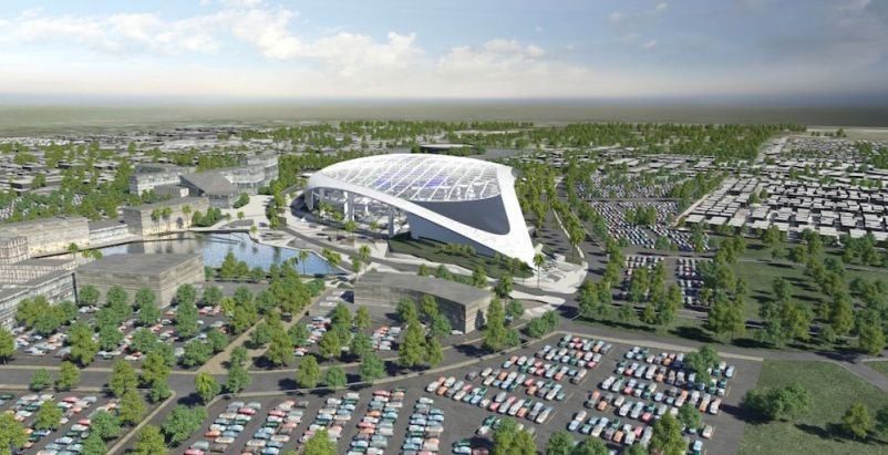 Turner And Aecom Will Build The Los Angeles Rams New Multi Billion Dollar Stadium Project Building Desi Los Angeles Rams Entertainment District Nfl Stadiums