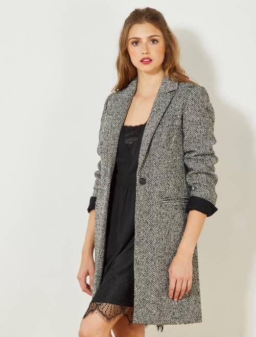 Manteau long chevron noir Femme - Kiabi   envie de mode en 2019 ... 5bf0b1757cc9