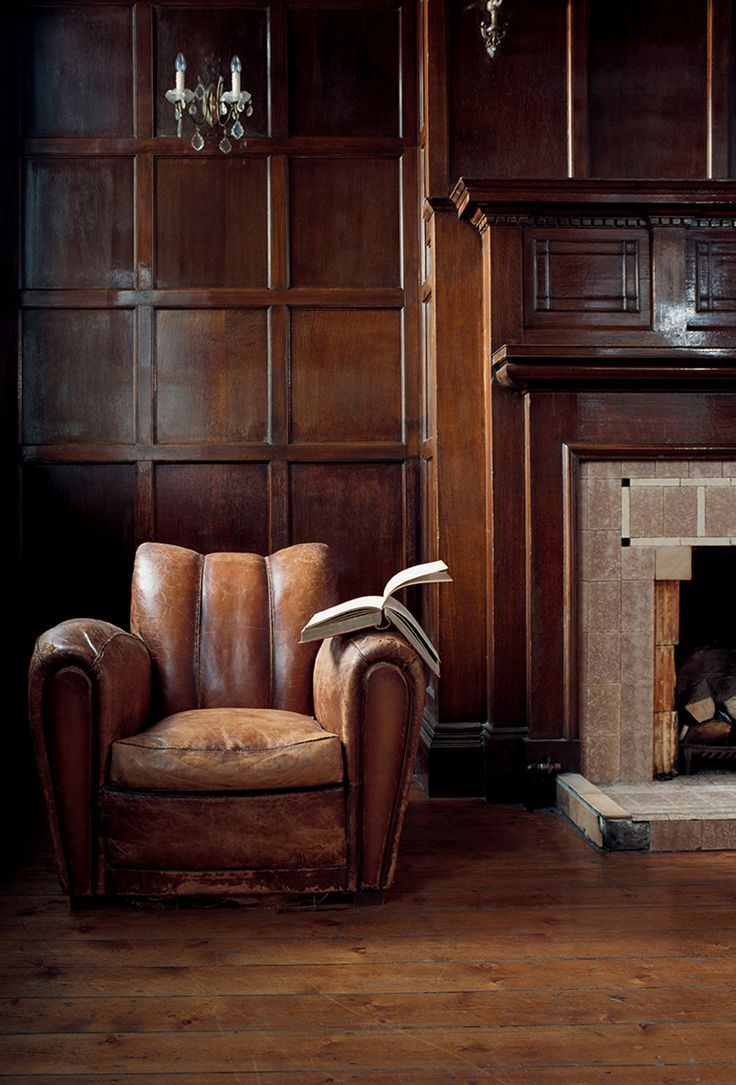 Beautifully Worn Leather Club Chair Timber Paneling Classic Fireplace Perfect Retreat Furniture Home Overstuffed Chairs