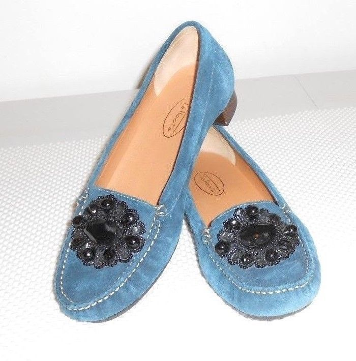 Talbots Women's Midnight Teal Suede Loafer Shoe Size 7.5 N #Talbots #Loafer