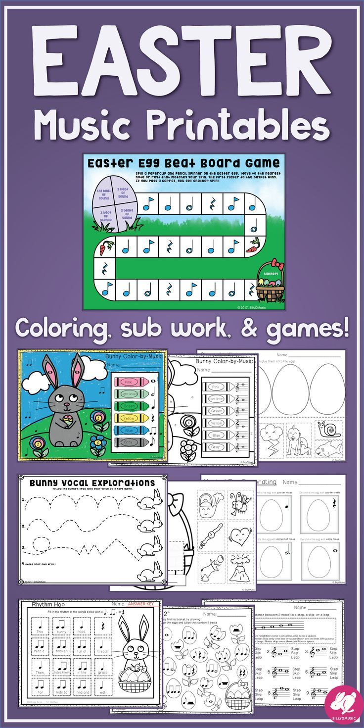 Easter Music Activities/Worksheets: Printable Games, Glyph ...
