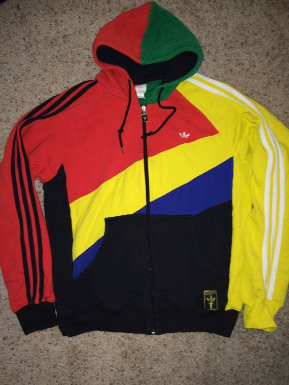 Vintage ADIDAS Originals track hooded jacket retro coat