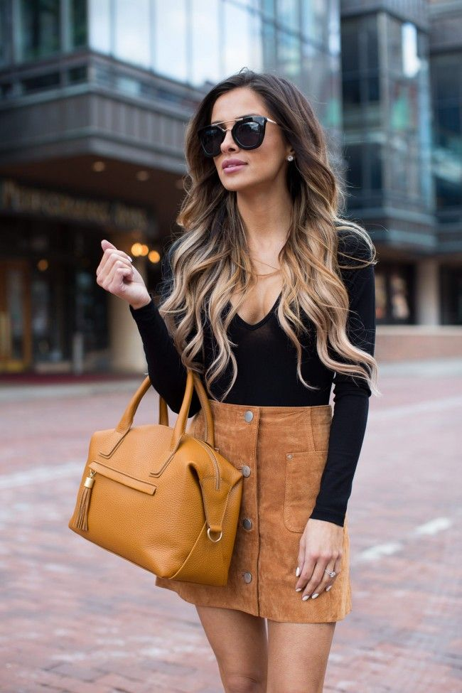 177b887809 Camel Suede Skirt. Asos Bodysuit. Asos Suede Skirt. Zara Black Heels. Nasty  Gal Sunglasses. GiGi New York Bag.