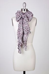 White+Polyester+Animal+Print+Long+Scarf