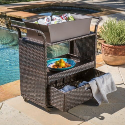 Charming Outdoor Bar Cart Brown Wicker On Wheels Removable