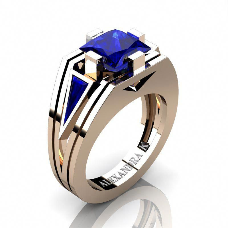 Gems and Jewels 14k Rose Gold Plated Princess-Cut Blue Topaz Mens Wedding Band Ring
