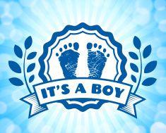 Newborn Baby Footprints Commemoration Blue Badge vector art illustration