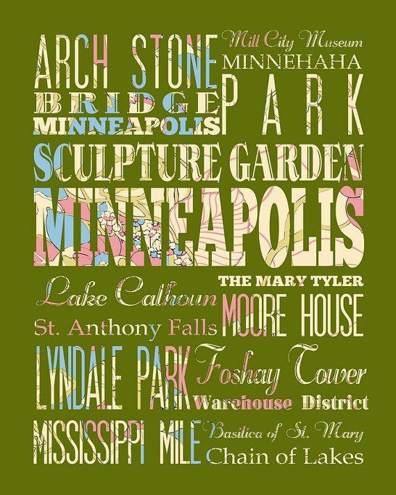 Minneapolis Minnesota Typography Poster/Bus/ by LegacyHouseArt ...