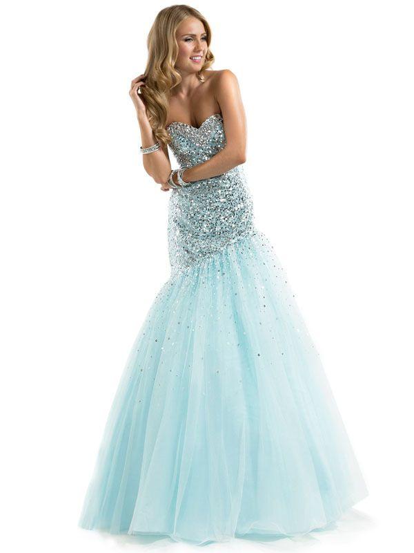 Mermaid Aqua Sweetheart Prom Dress