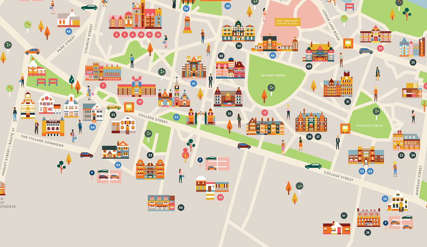 Mount Holyoke College Campus Map On Behance Campus Map College Campus Mount Holyoke College