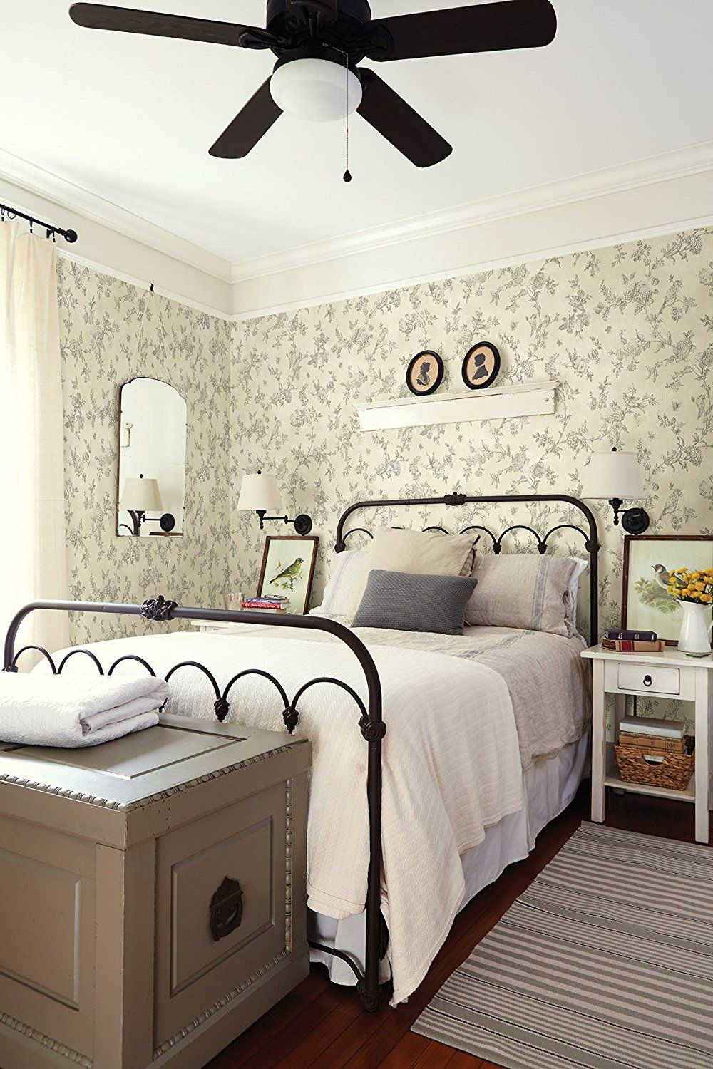 Farmhouse Cottage Style Bedroom With Wallpaper Iron Bed And