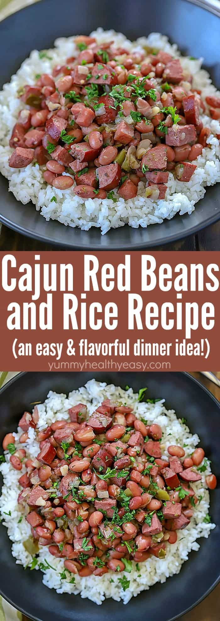 Spice your dinner up tonight and make this Cajun Red Beans and Rice Recipe! Slow cook beans, ham, turkey sausage and spices in a skillet to let the flavors combine. Serve over rice for a delicious dinner the whole family will fall in love with! #beans #rice #recipe #easy #dinnerrecipe #ham #sausage #redbeans #slowcooked via @jennikolaus #easysausagerecipes