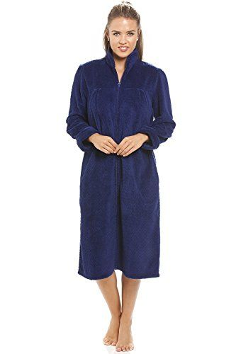 Camille Button Up Front Long Fleece Housecoat
