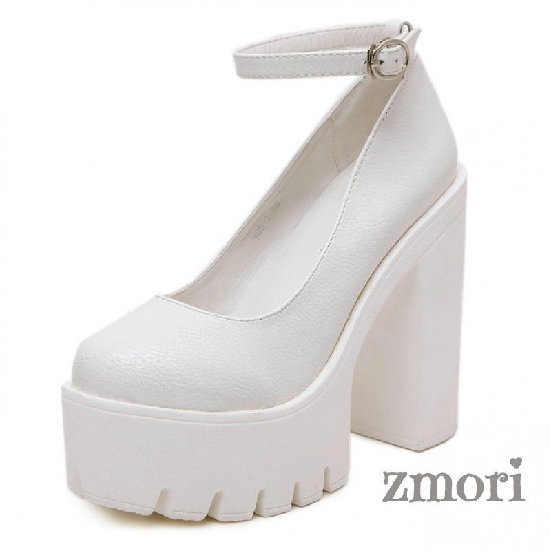 5648d60b21e White Chunky Cleated Platforms Sole Block High Heels Mary Jane Shoes