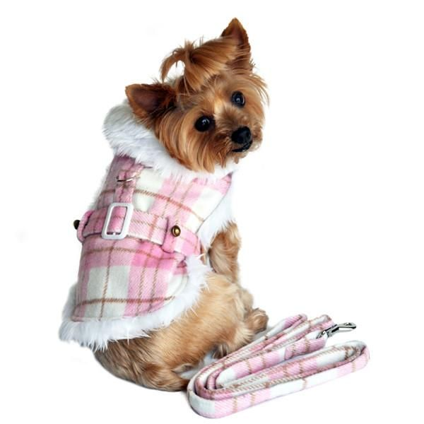 Doggie Design Plaid Minky Fur Harness Jacket with Matching Leash in