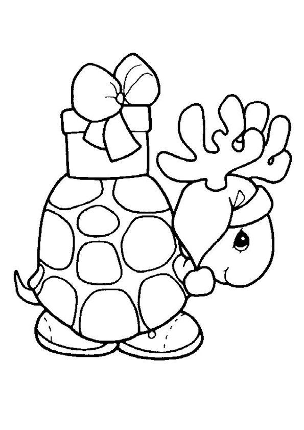 kerst kleurplaat een schildpad met een kado op z n rug