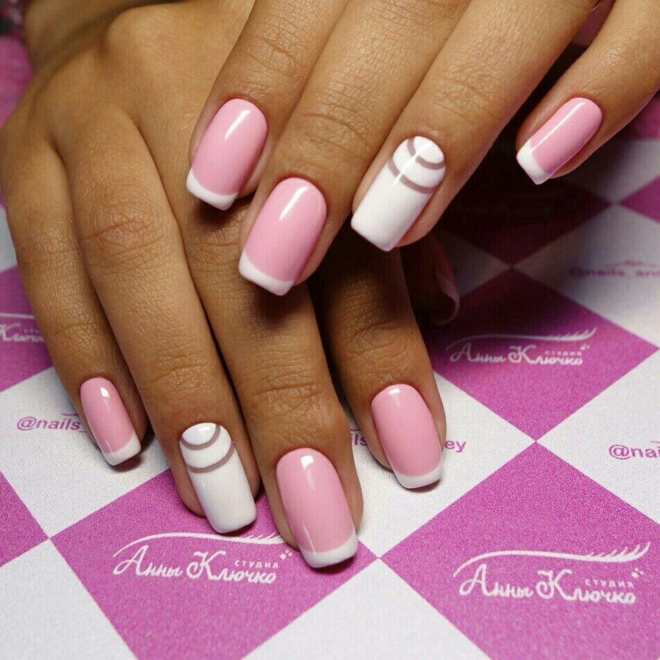 nails #nailart #french #pink #white #design | ks.shev_nails ...