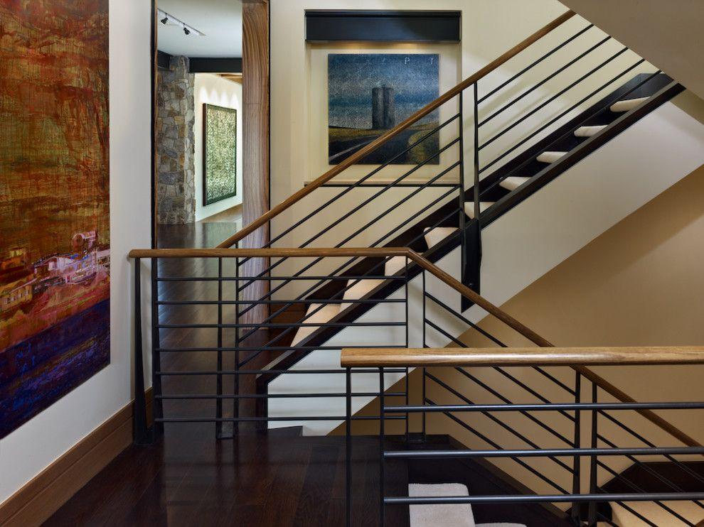 Stair Railings Staircase Rustic With Art Brown Baseboard Colorado Dark Wood Floor Stairs