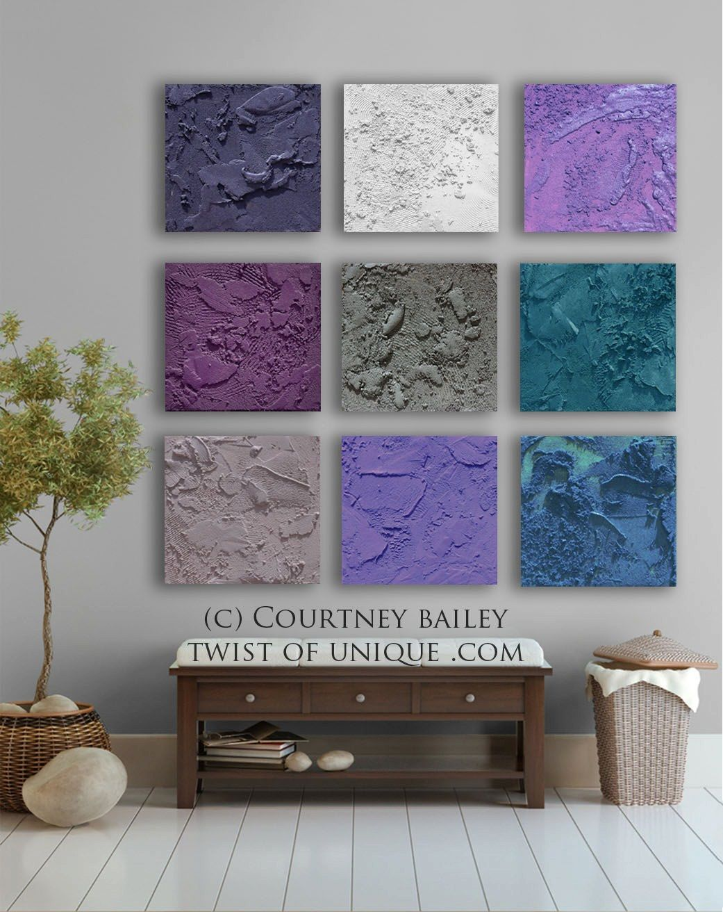 Purple And Gray Wall Art square abstract painting, 9 panel custom abstract wall art, large