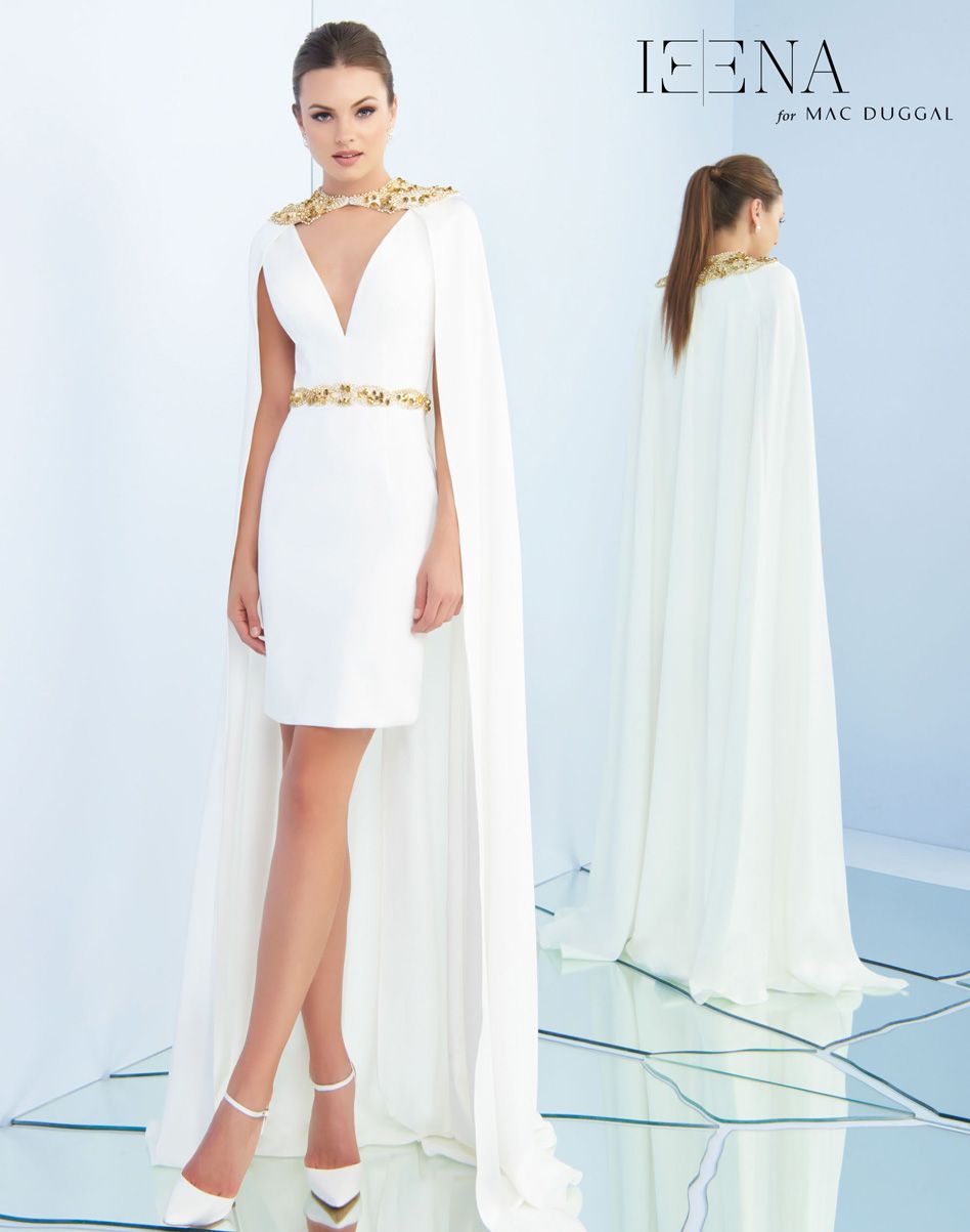 Above the knee sheath dress with plunging neckline beaded waistband