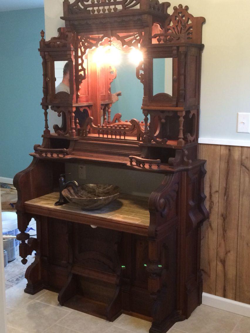 Antique Pump Organ Bathroom Vanity Furniture Decor Redo