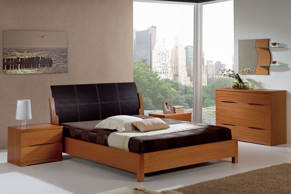 Stylish Leather High End Contemporary Furniture Set With Optional Storage System Wood Bedroom Furniture Sets Furniture Contemporary Bedroom Sets