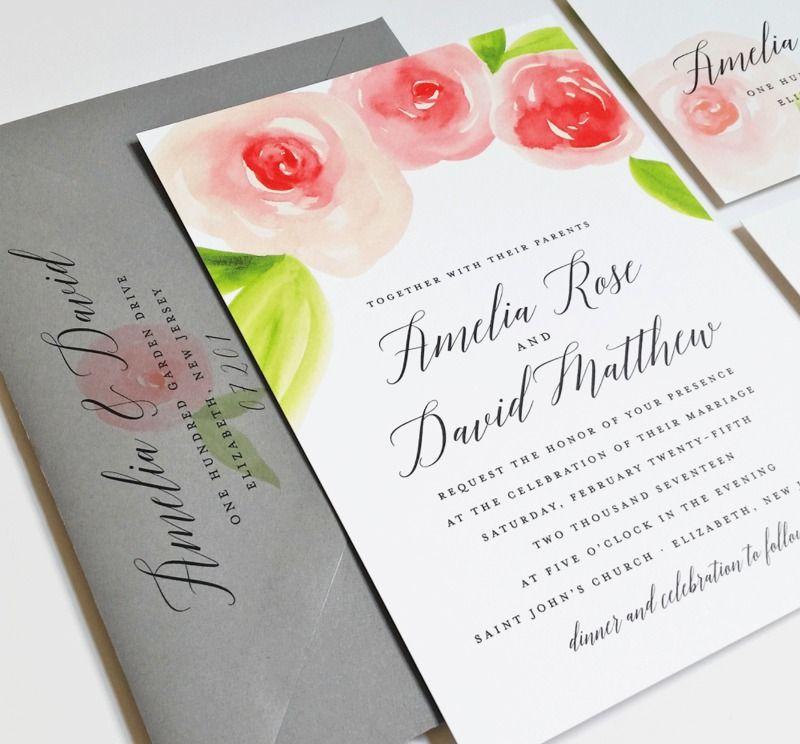 Amelia Watercolor Floral Spring Wedding Invitation Sample ...