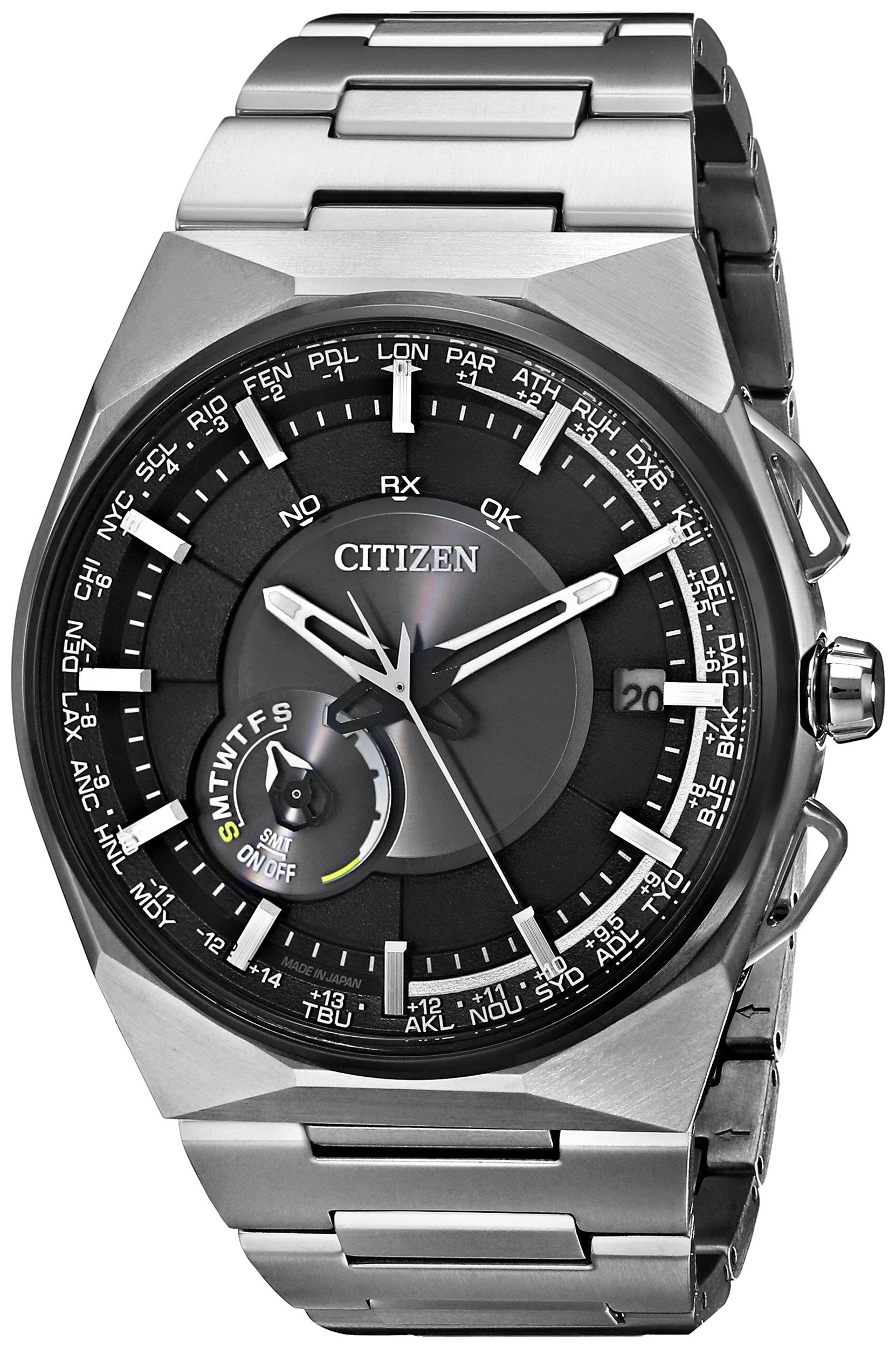 Citizen Men's Eco-Drive Satellite Wave F100 Titanium GPS Japanese Quartz Watch with Black Dial Analog Display and Stainless Steel Band (CC2006-61E)