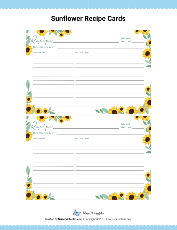 Free Printable Sunflower Recipe Cards The Cards Are Editable In Adobe Reader Down Recipe Cards Template Recipe Template Printable Recipe Cards Printable Free