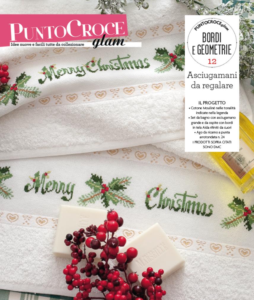 Questo Natale perchè non regalare dei bellissimi ed eleganti asciugamani, tutti ricamati da voi?? Scoprite come fare nel fascicolo 14 di Punto Croce Glam, sezione Bordi e Geometrie!