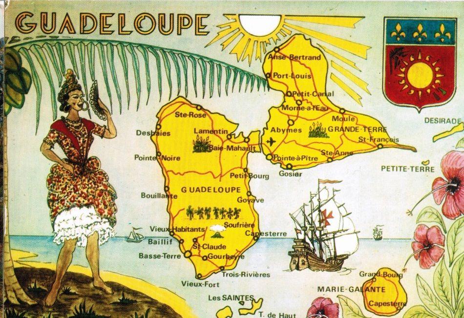 Guadeloupe carte ilustrée Guadeloupe Pointe à Pitre Basse Terre