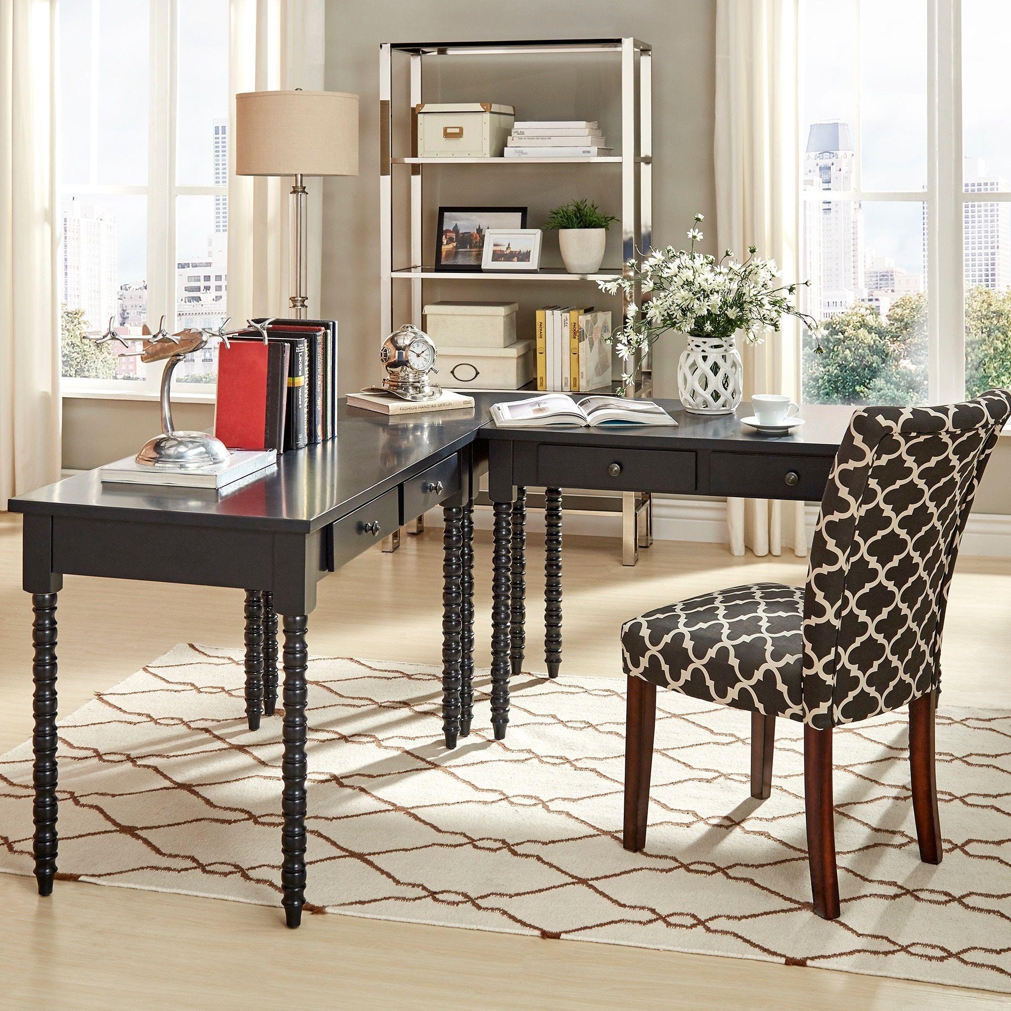 Lyndale L-Shaped Helix Legs Corner Office Desk by Inspire Q