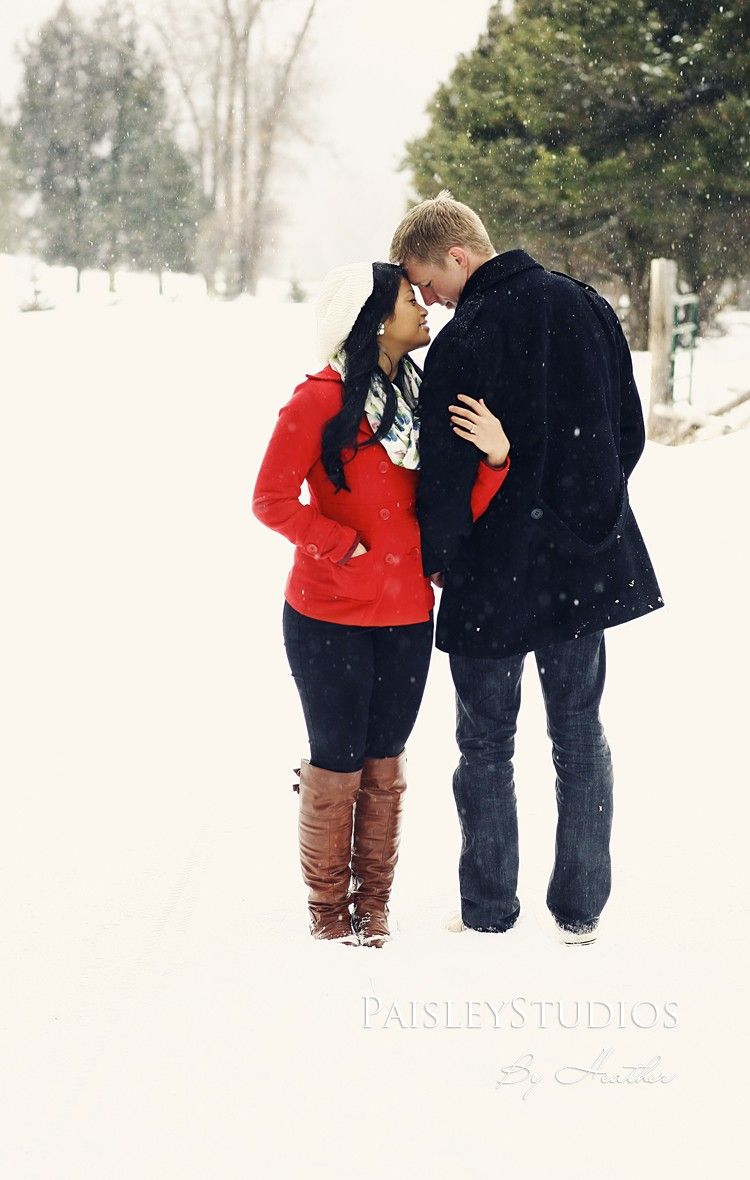 snowy outdoor 2015 Christmas couple photo shoot in the forest ...