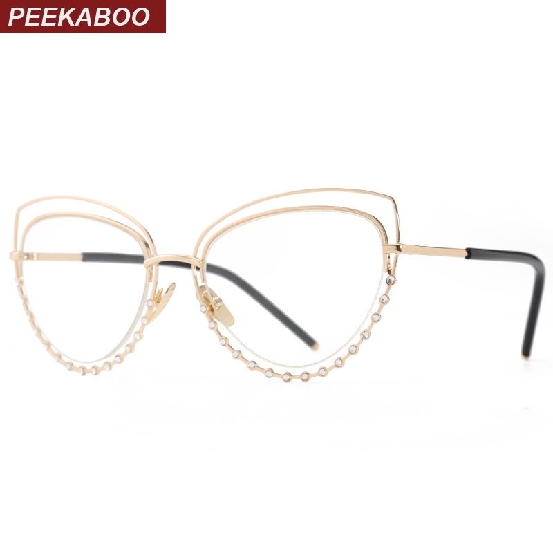 eee1695f868 Aliexpress.com   Buy Peekaboo transparent oversized glasses square black  one lens clear designer large eyewear frames women men from Reliable eyewear  frames ...