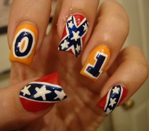 Soccer nail arts with red and yellow color combo