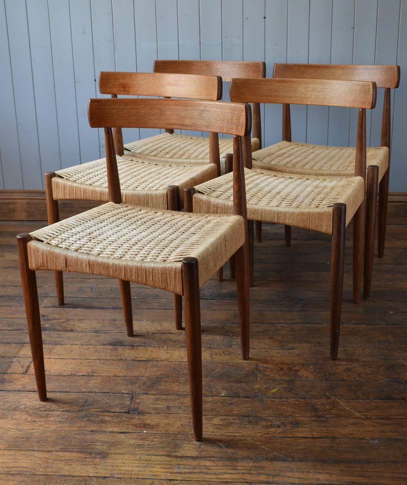 5 Vintage Danish Cord Dining Chairs - Arne Hovmand-Olsen by Mogens Kolds Danish  Furniture - 5 Vintage Danish Cord Dining Chairs - Arne Hovmand-Olsen By Mogens