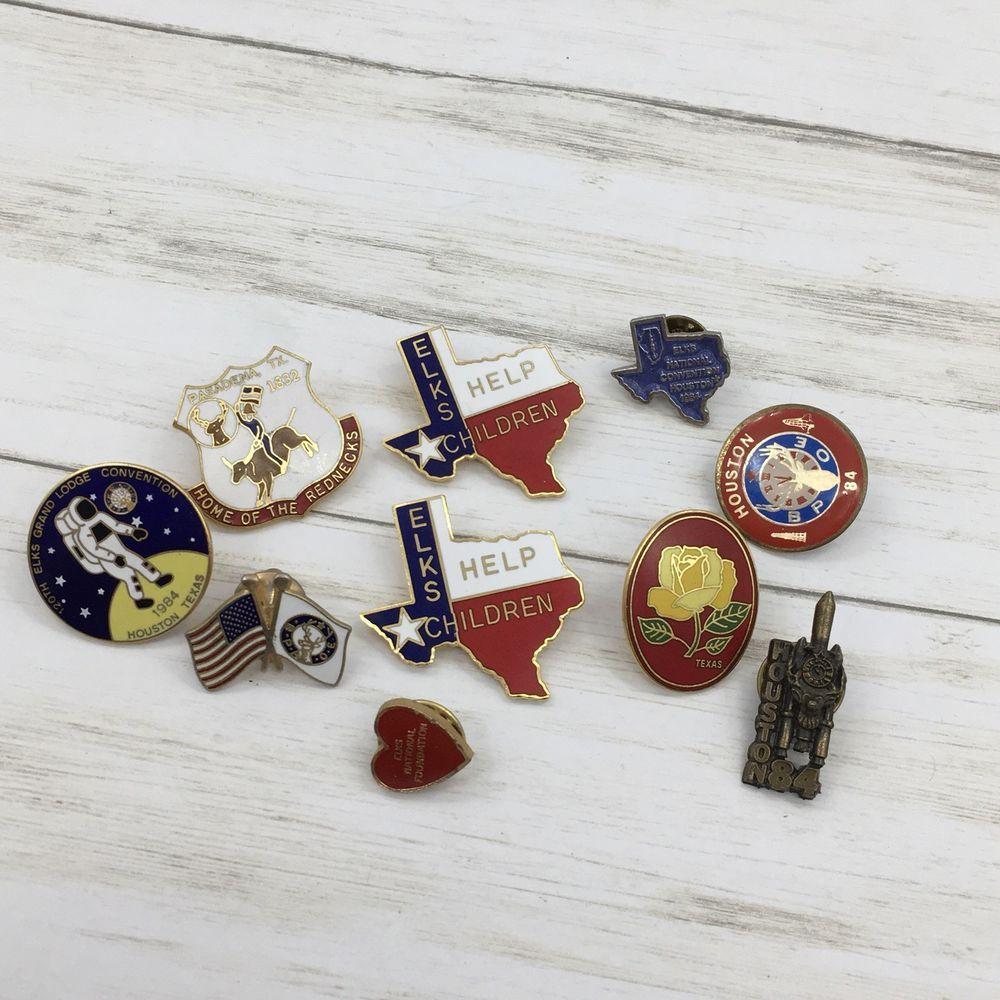 Vintage Lot Of Elks Texas Enamel Pins Convention Heart Houston Ebay Enamel Pins Ebay Enamel