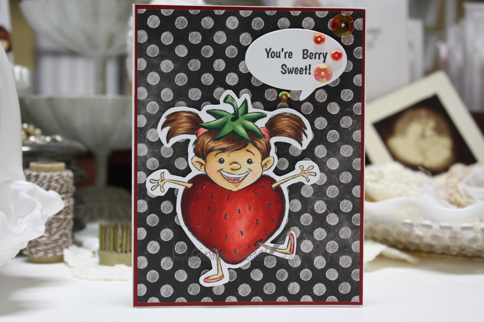 Made by Cindy Hoesel, Whimsy Stamps, Krista Heij-Barber, Sweet Berry