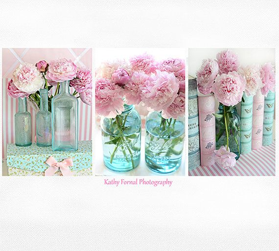 Peony Wall Art peony prints, peony photographs, peony photos, aqua pink peony
