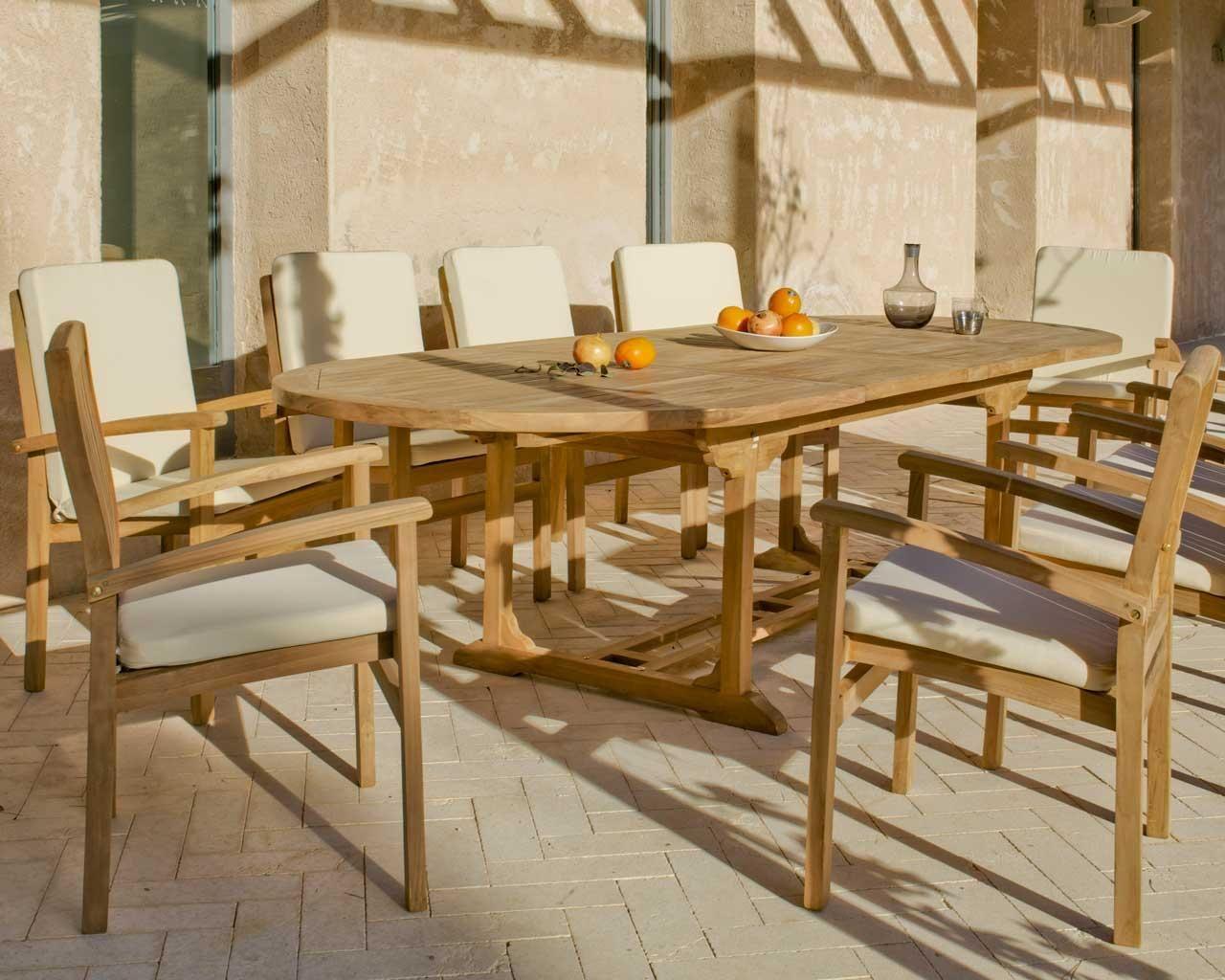Salon De Jardin Ovale | Salon De Jardin En Teck Sumbara 16 1 Table ...